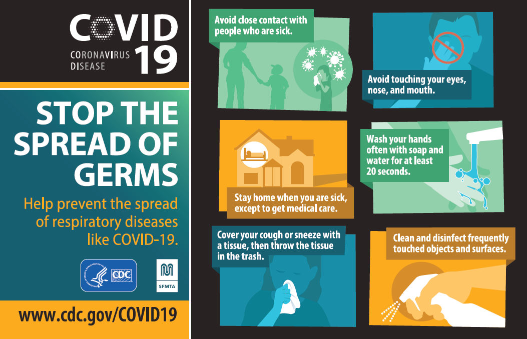 CDC guidelines to stop the spread of germs and COVID-19.